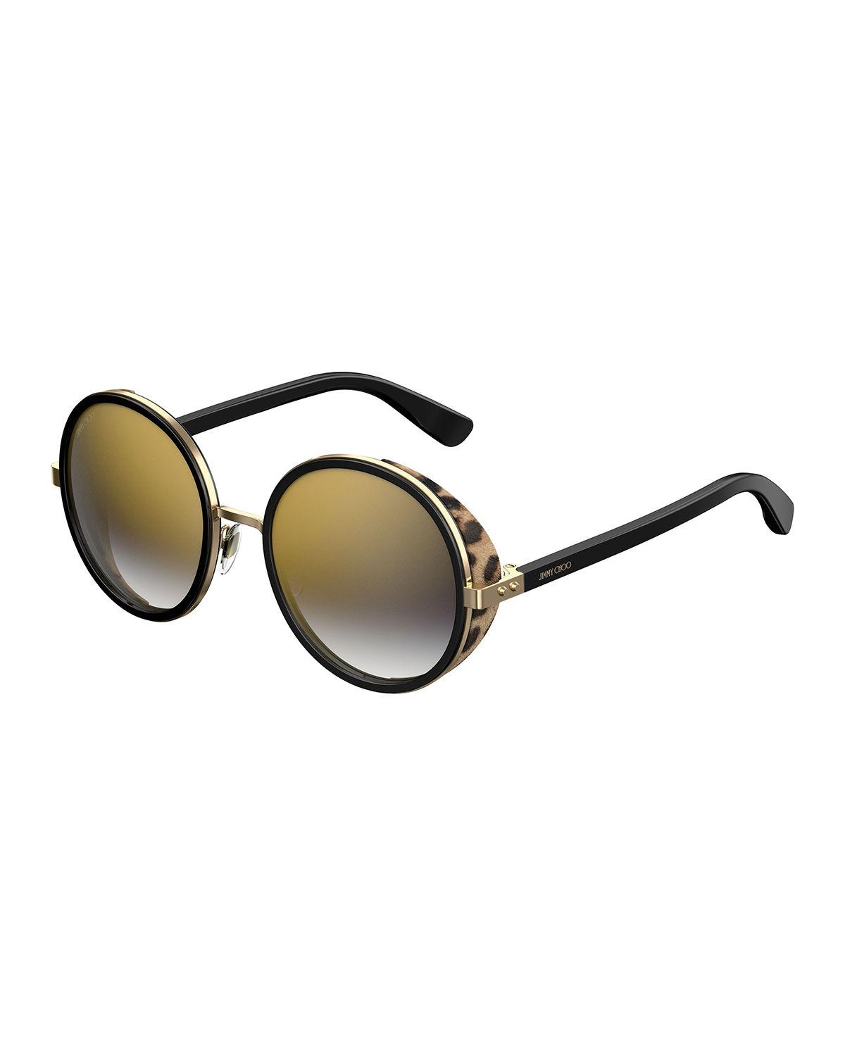 94ce421c4c56 Jimmy Choo - Black Andien Textured Round Sunglasses - Lyst. View fullscreen