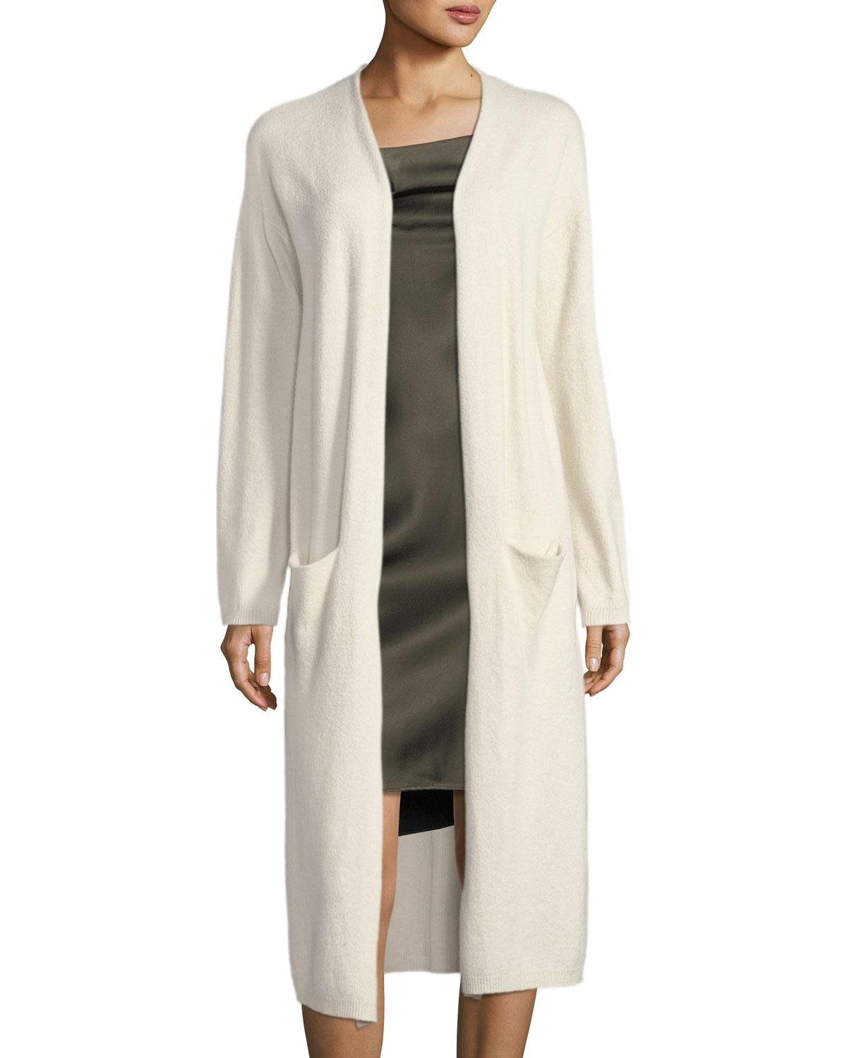 Halston heritage Long-sleeve Open-front Duster Cardigan in Gray | Lyst