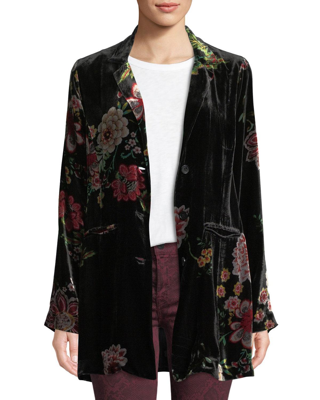 c5c44cfc705 Lyst - Johnny Was Vivian Floral Silk Velvet Blazer in Black - Save 46%