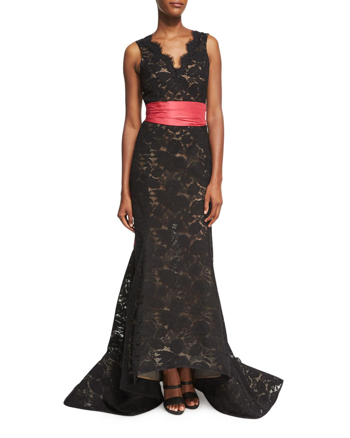 c9396f803c0 Lyst - Oscar de la Renta Sleeveless Lace Trumpet Gown With Sash in Black