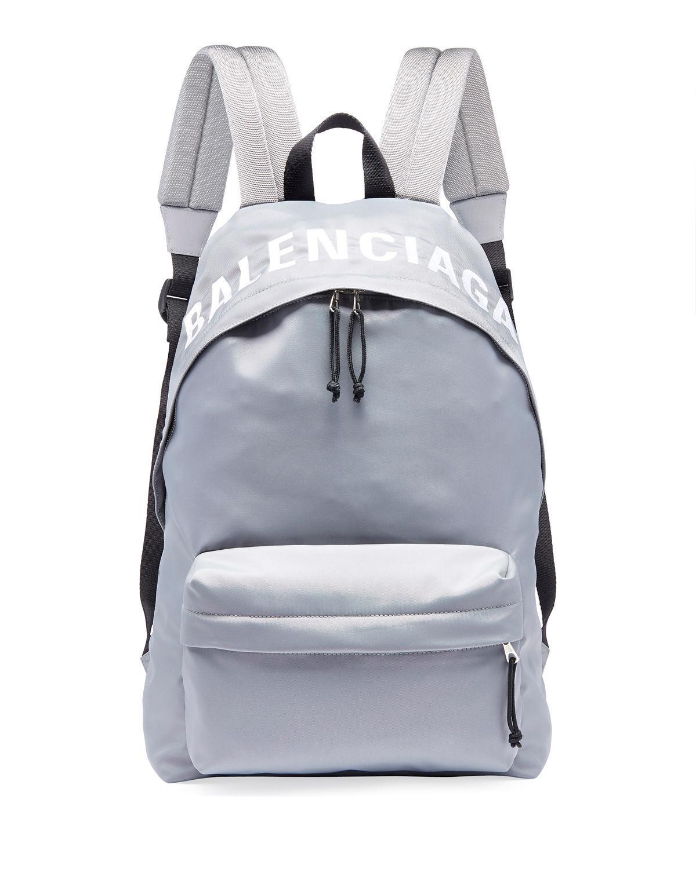 67169ba512e8 Lyst - Balenciaga Men s Wheel Logo-print Backpack in Gray for Men