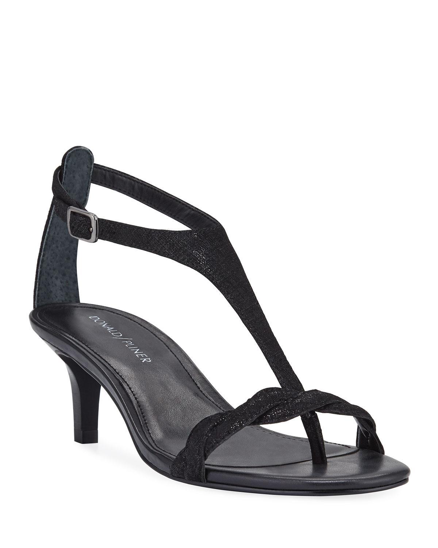 fbf3993c12b0 Lyst - Donald J Pliner Kate Metallic Suede T-strap Sandals in Black