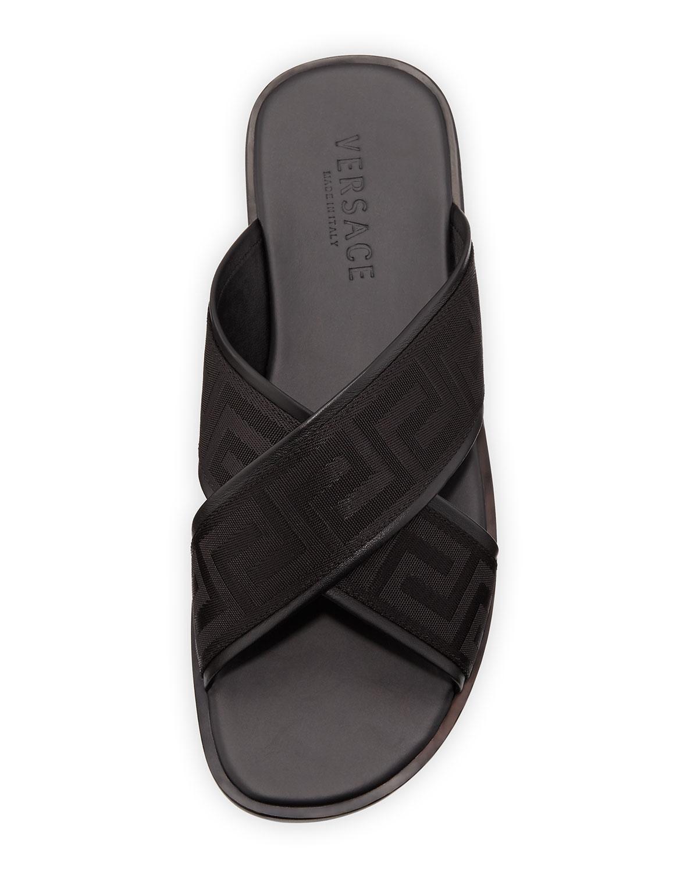 f2d718324 Lyst - Versace Men s Greek Key Crisscross Sandal in Black for Men