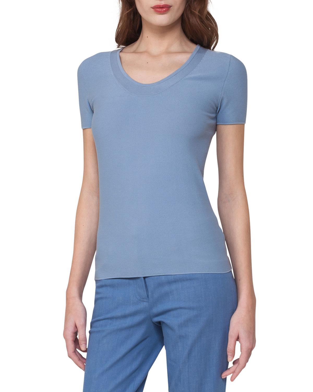 Akris Short-sleeve Piqué Scoop-neck Sweater in Blue | Lyst