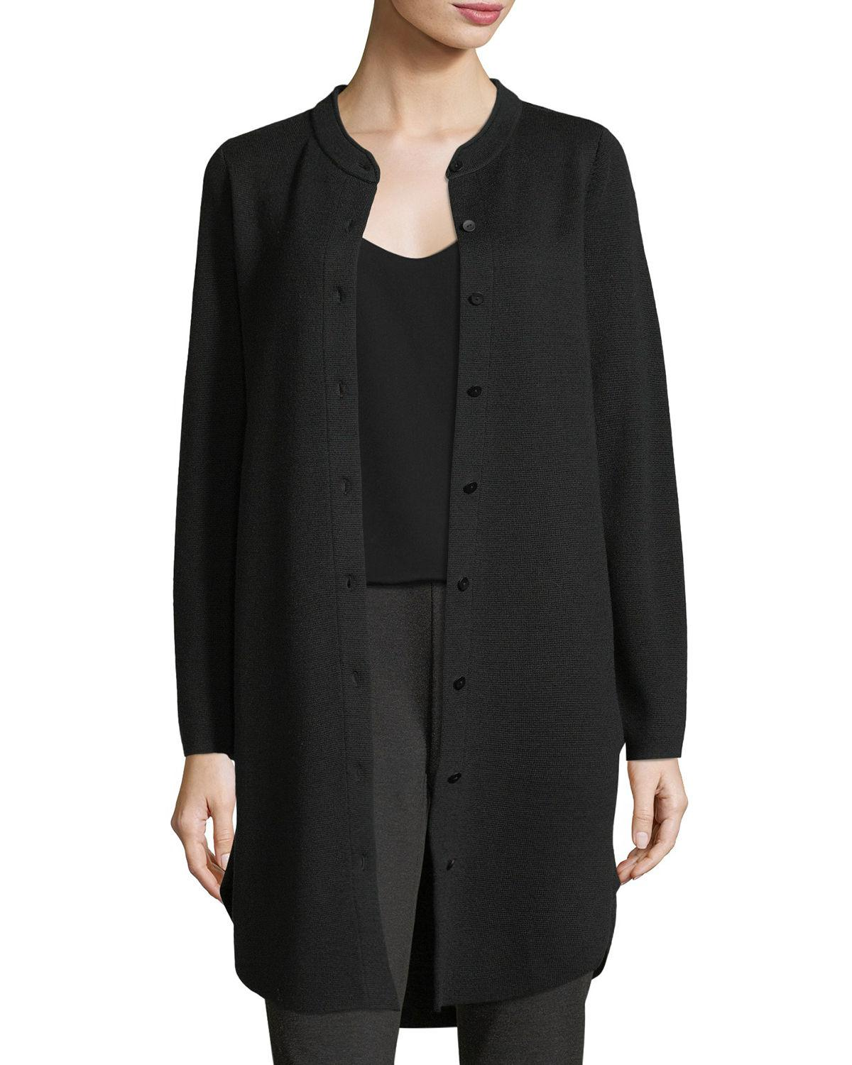 b24cda31de803 Lyst - Eileen Fisher Merino Interlock Wool Mandarin-collar Cardigan ...