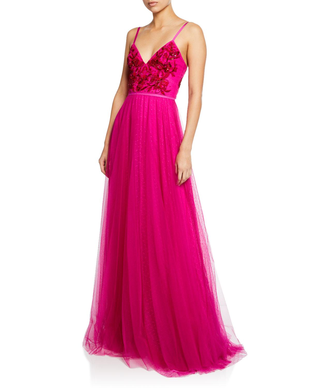 8e2d81265e Lyst - Marchesa notte Strapless Beaded Embroidered Gown in Pink