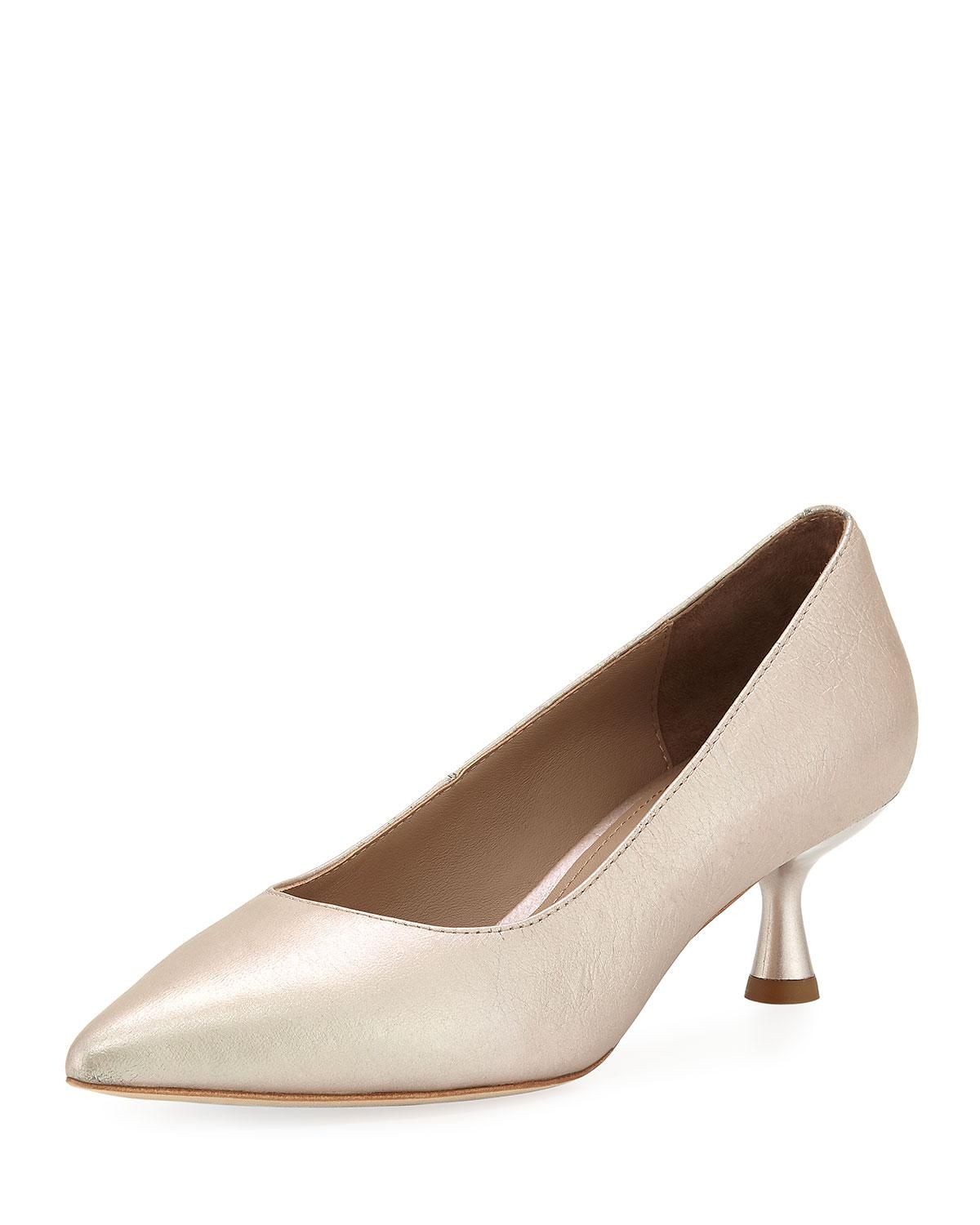 9acf0ab4b65 Lyst - Donald J Pliner Bon Pointed-toe Low Metallic Leather Pumps in ...