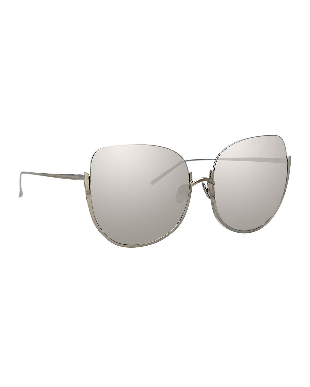 1f56b8ad18b Linda Farrow. Women s Gray Semi-rimless Mirrored Butterfly Sunglasses.   1