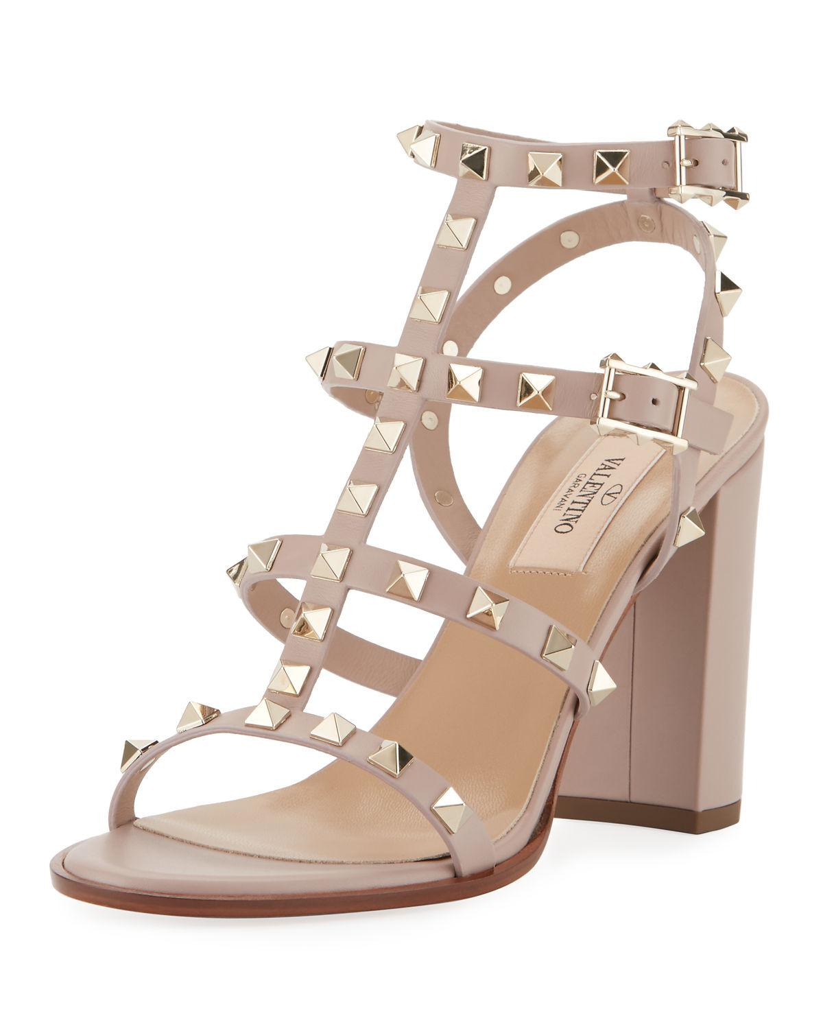 a3419936b56 Lyst - Valentino Rockstud Leather 90mm City Sandal