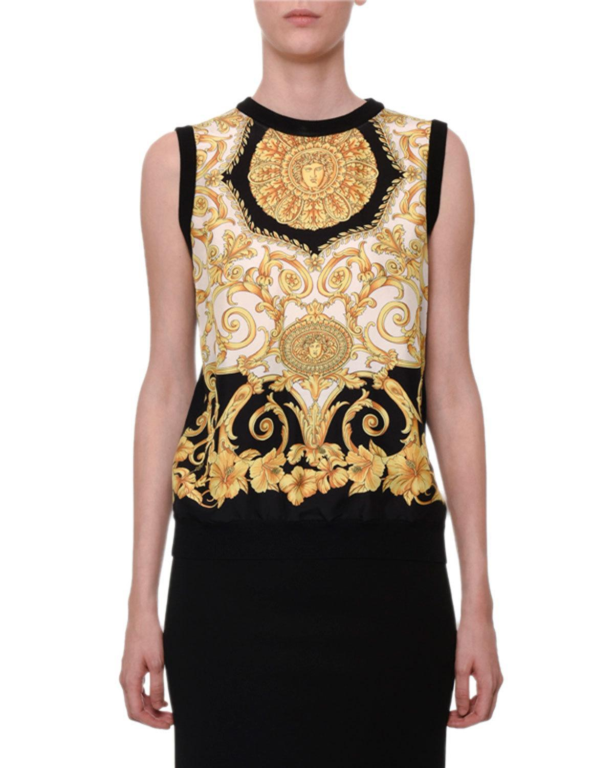 8e605937f2f Lyst - Versace Sleeveless Hibiscus-print Silk Shell Top in Black
