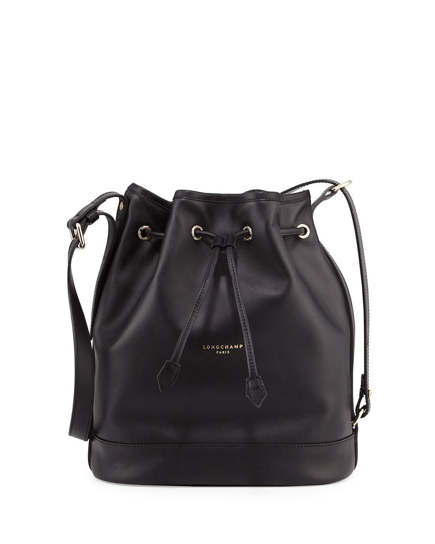 2ad2cf265b9 Lyst - Longchamp 2.0 Large Leather Bucket Bag in Black