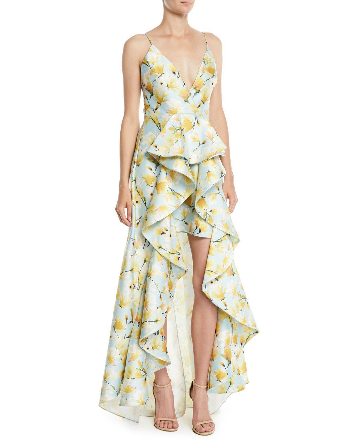 Lyst - Badgley Mischka Floral-print Mikado Ruffle High-low Gown in Blue