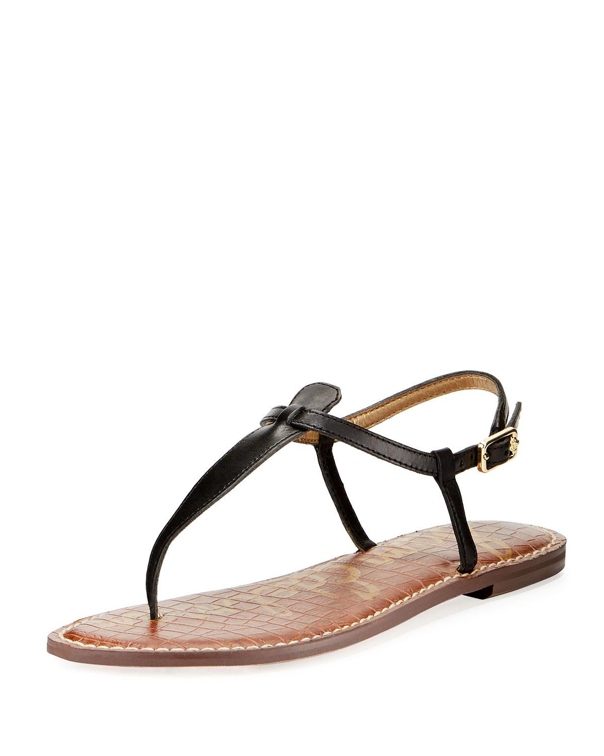 4f9595e8b5ad50 Lyst - Sam Edelman Gigi Leather Flat Thong Sandal in Black