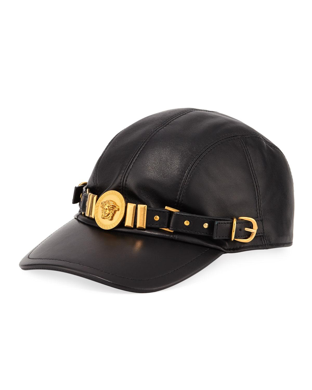 22db0099056 Lyst - Versace Leather Baseball Cap With Medusa Medalion in Black ...