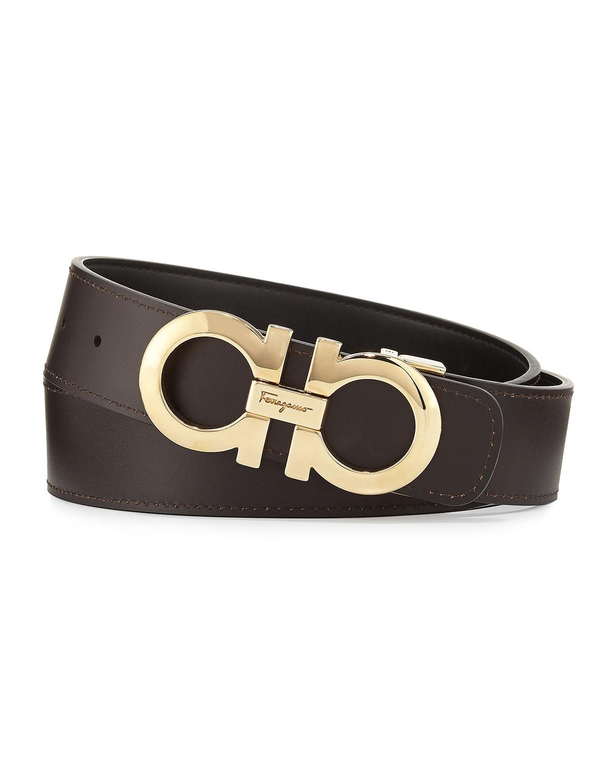 8db46639575d6 Lyst - Ferragamo Men s Double-gancini Reversible Leather Belt Black ...