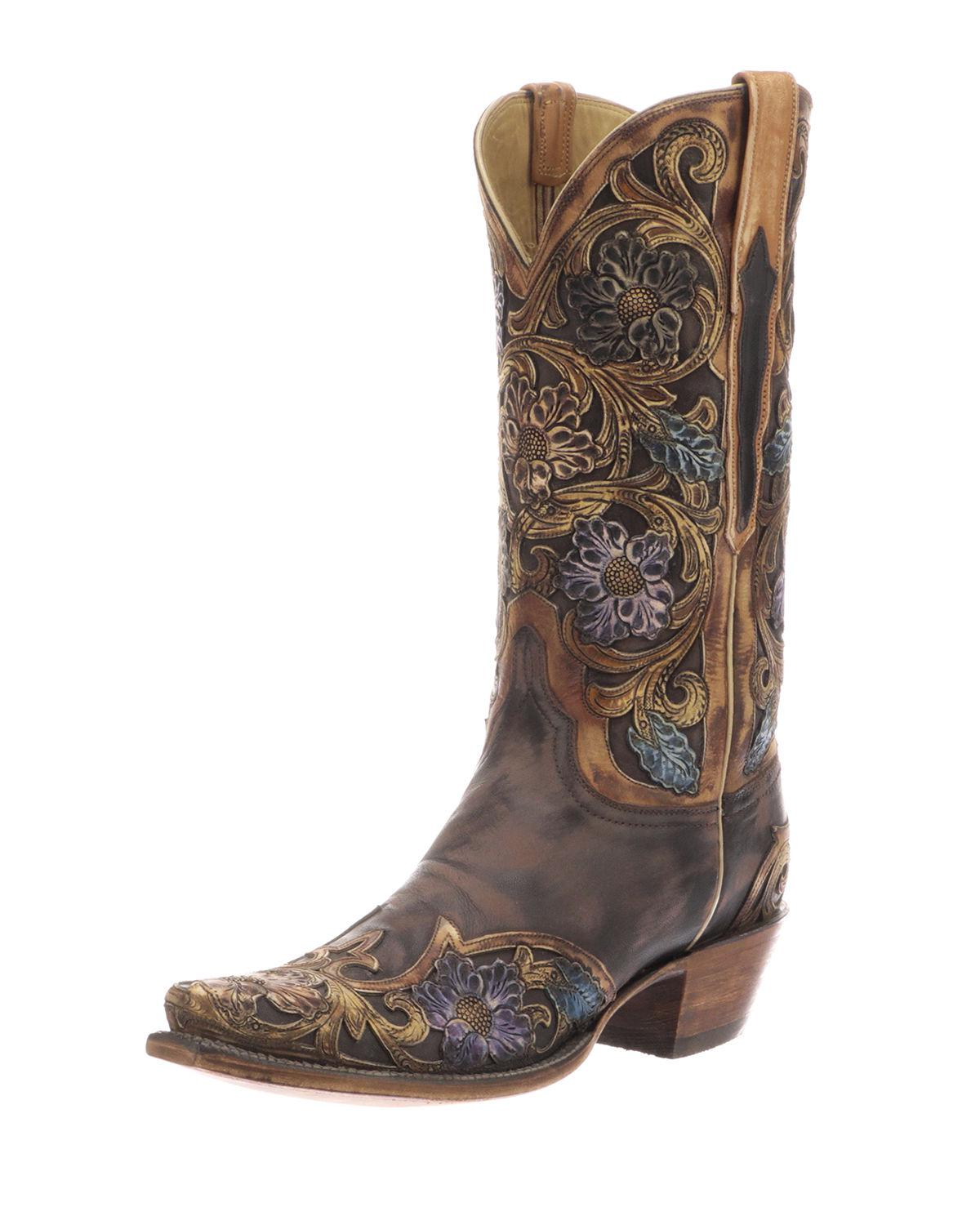 e8a7a7b8e5a Lyst - Lucchese Drea Distressed Floral Boots in Brown