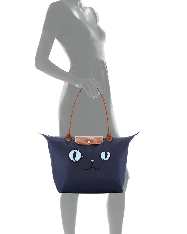 536f33ac145 Lyst - Longchamp Le Pliage Miaou Cat Large Shoulder Tote Bag in Blue