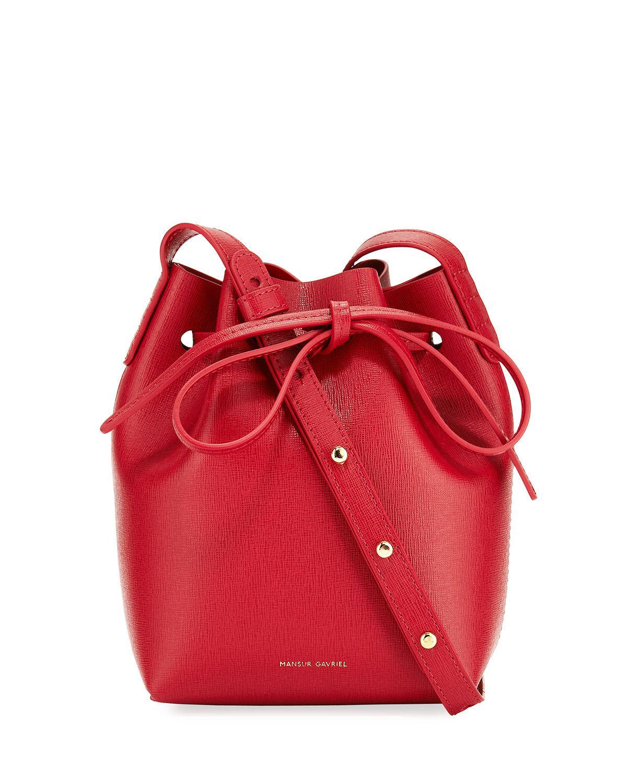 da3a3c17f Mansur Gavriel - Red Mini Mini Saffiano Leather Bucket Bag - Lyst. View  fullscreen