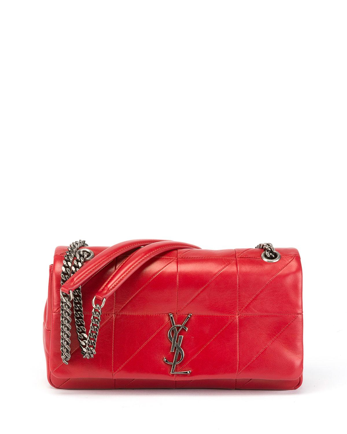 379939207d Saint Laurent. Women s Red Jamie Medium Diamond-quilted Double-chain  Shoulder Bag