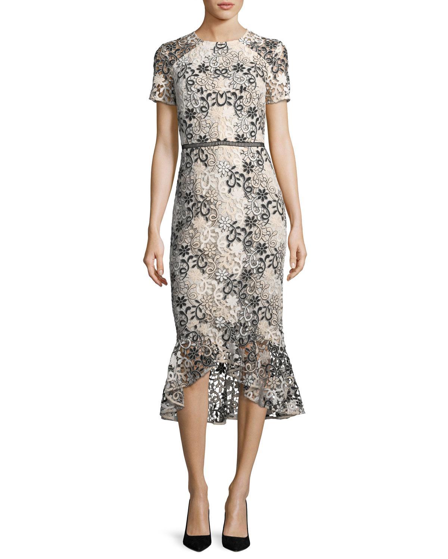 cf32ac10b7 Shoshanna Edgecombe Short-sleeve Floral Lace Dress W flounce Hem - Lyst