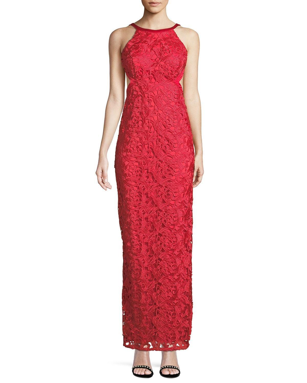 12aa5f5e Aidan By Aidan Mattox - Red Cutout-back Lace Halter Gown - Lyst. View  fullscreen