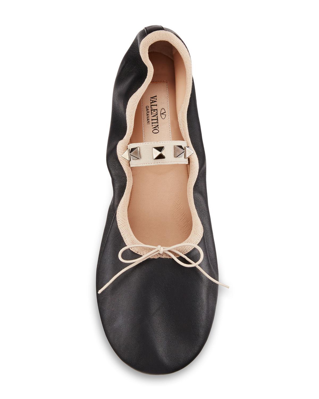 30d3df335b40 Lyst - Valentino Rockstud Ballet Leather Ballerina Flat