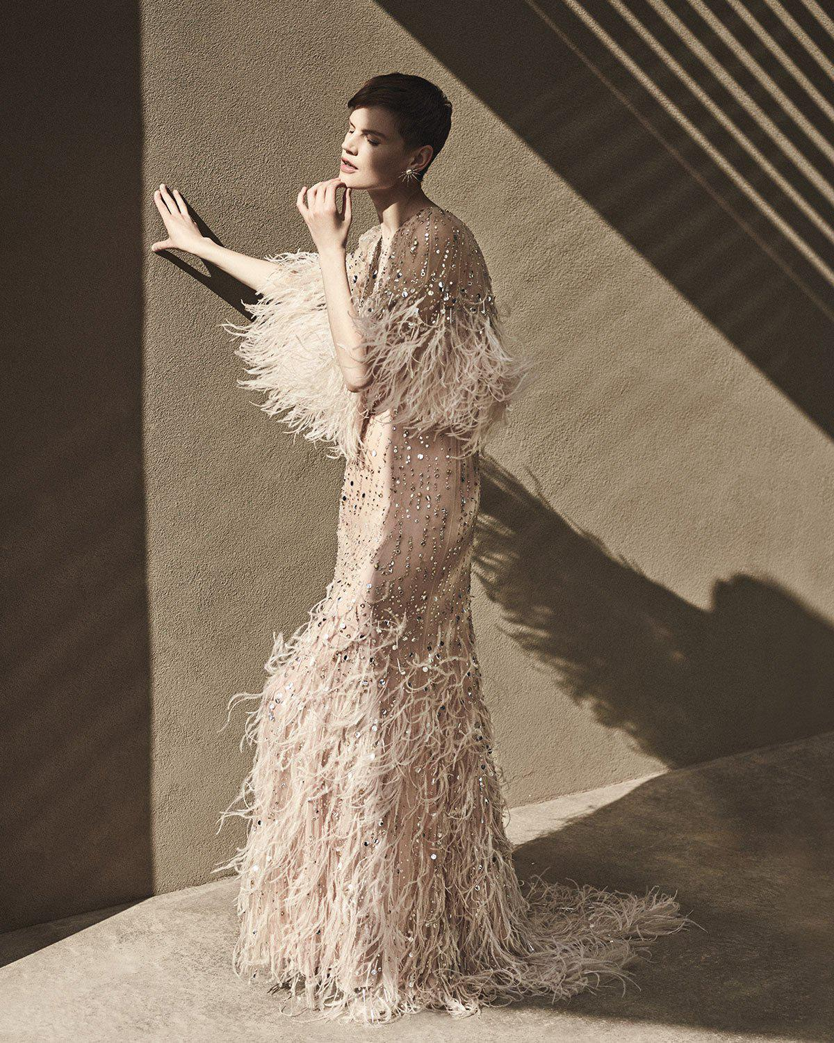 Lyst - Monique Lhuillier Beaded Ostrich Feather Gown in Pink