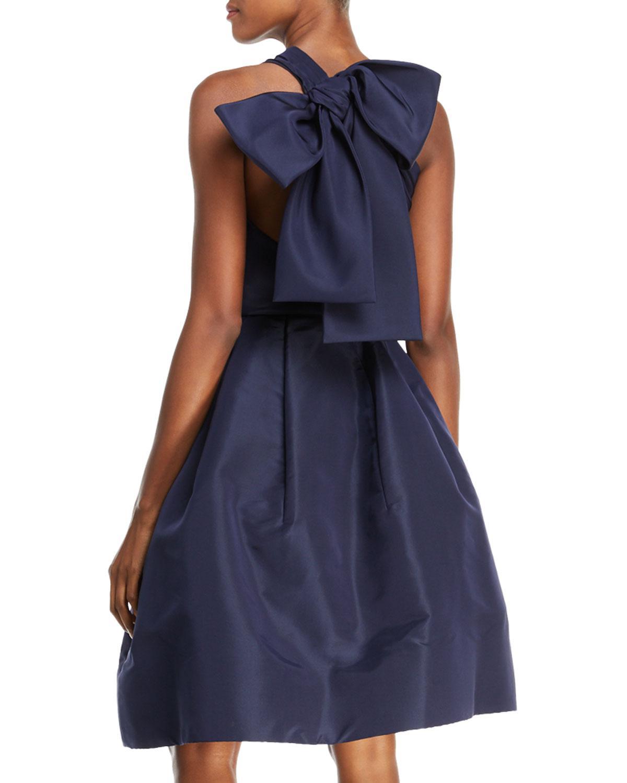 Lyst - Oscar de la renta Back Bow-tie One-shoulder Silk Taffeta ...