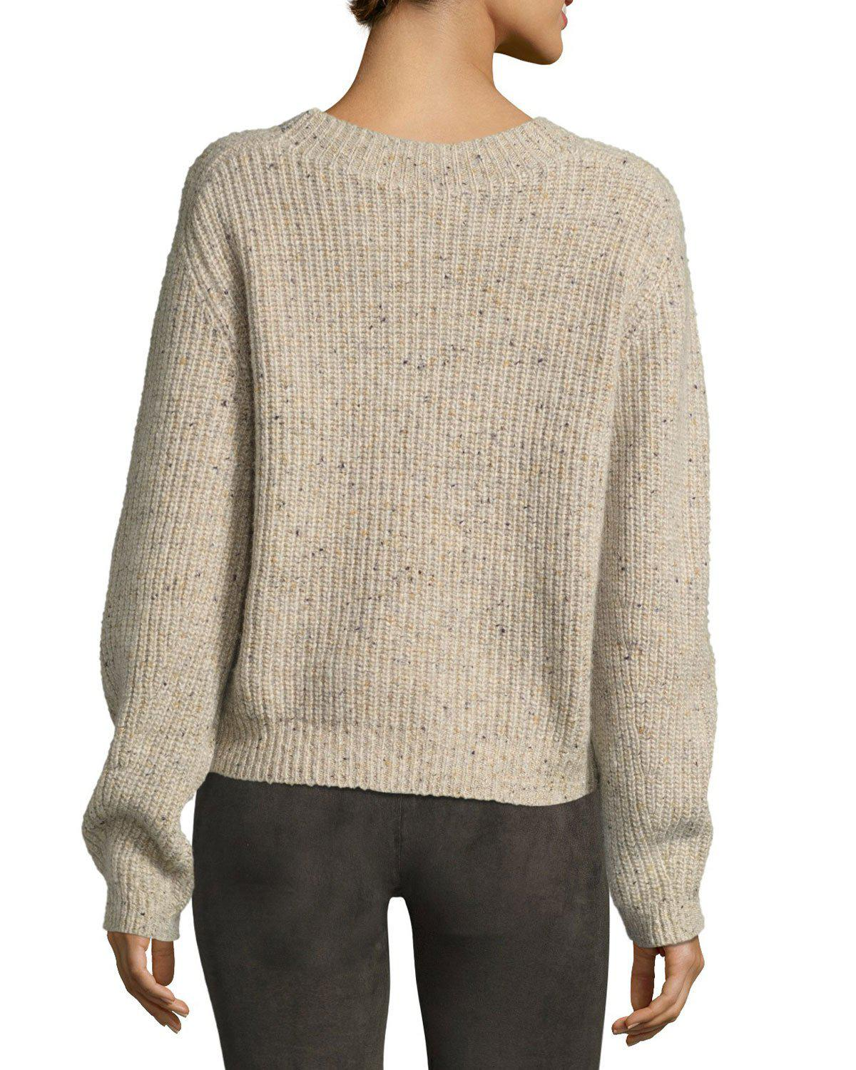 Vince Cropped Saddle Cashmere Pullover Sweater | Lyst
