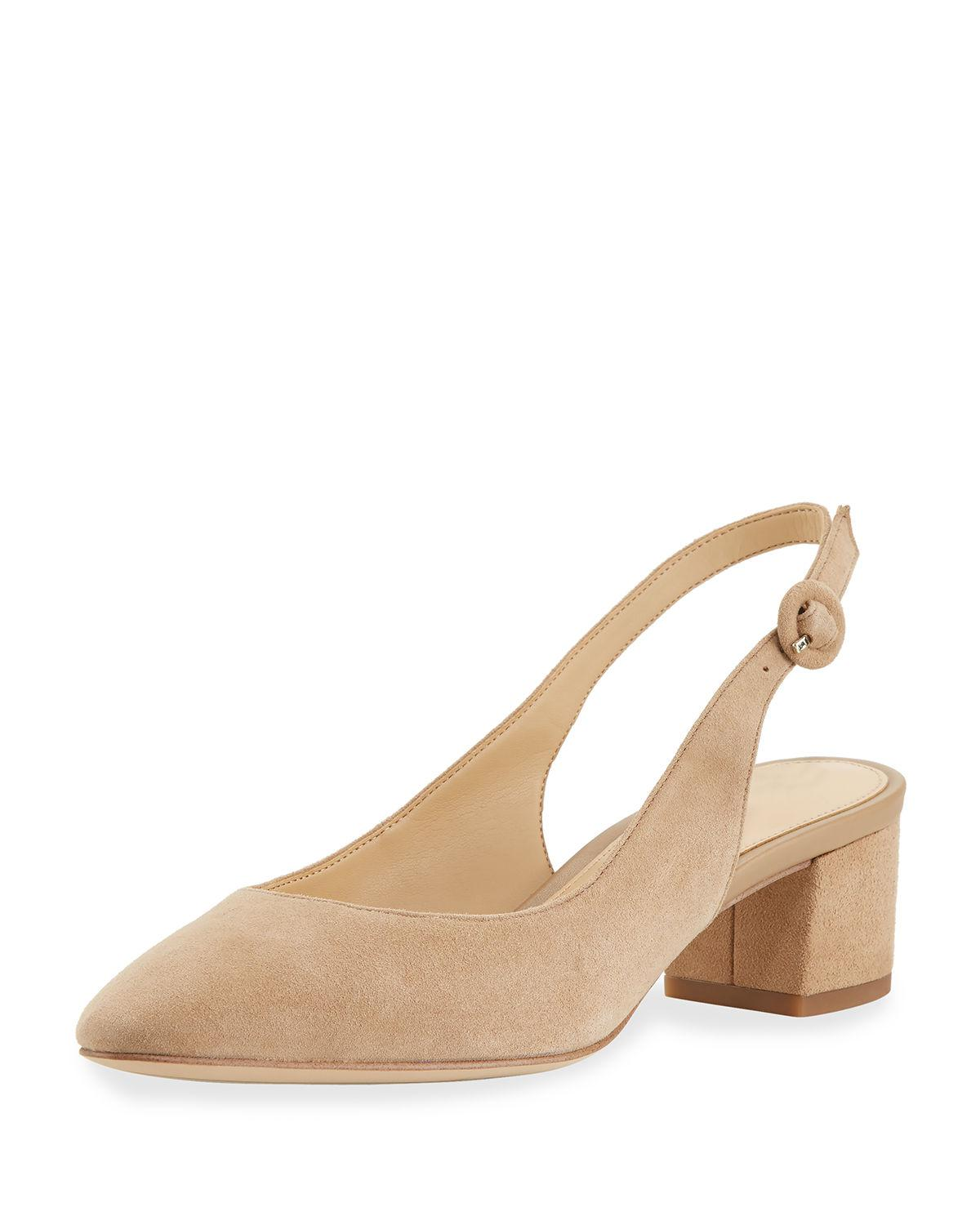 551c788a6 Lyst - Sam Edelman Lorene Suede Low-heel Slingback Pump in Natural