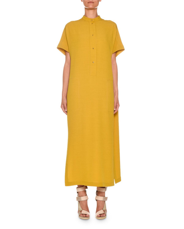 5d81df368b8 Agnona. Women s Brown Short-sleeve Button-front Wool-cady Kaftan Maxi Dress
