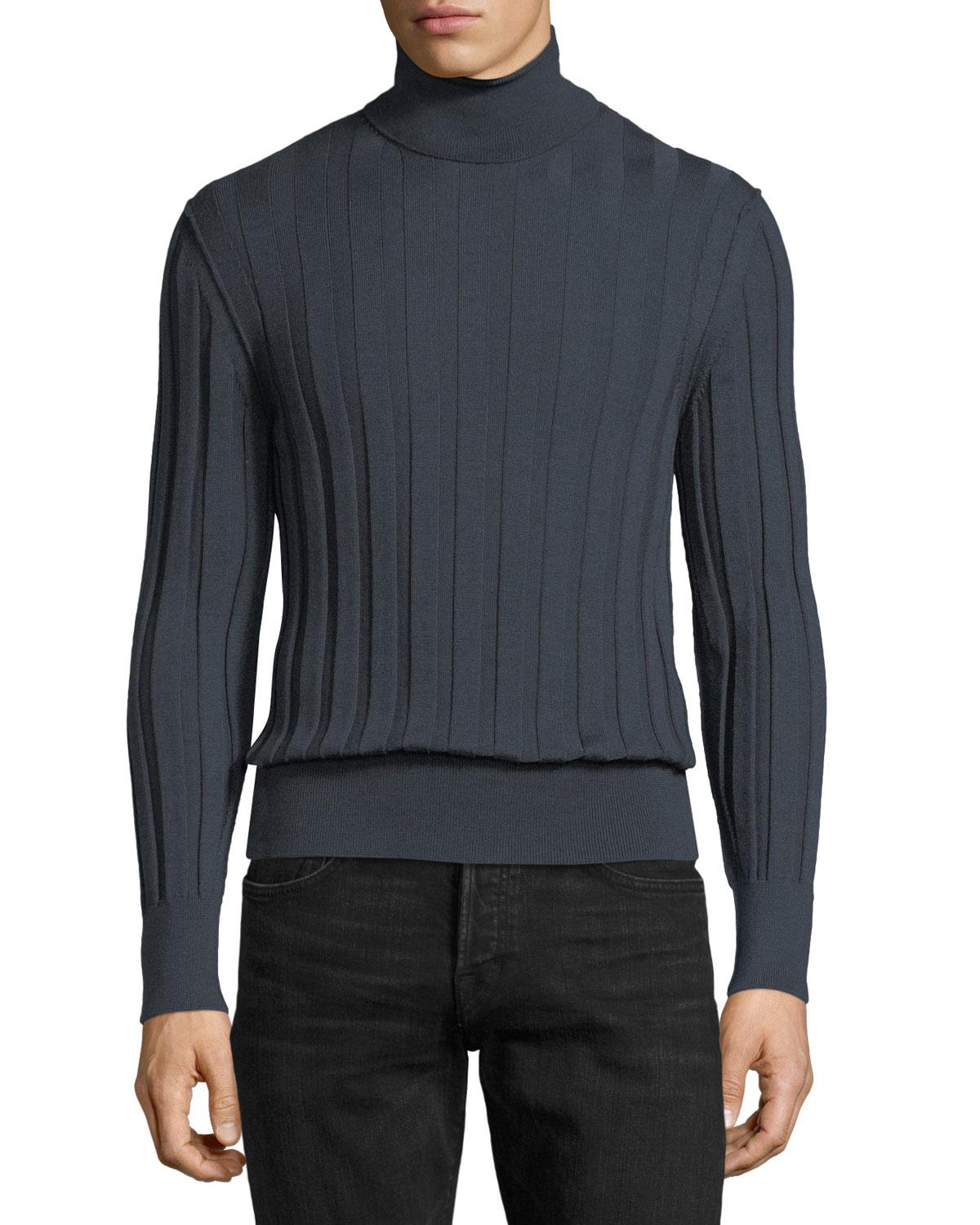 Tom ford Cashmere-silk Ribbed Turtleneck Sweater in Gray for Men ...