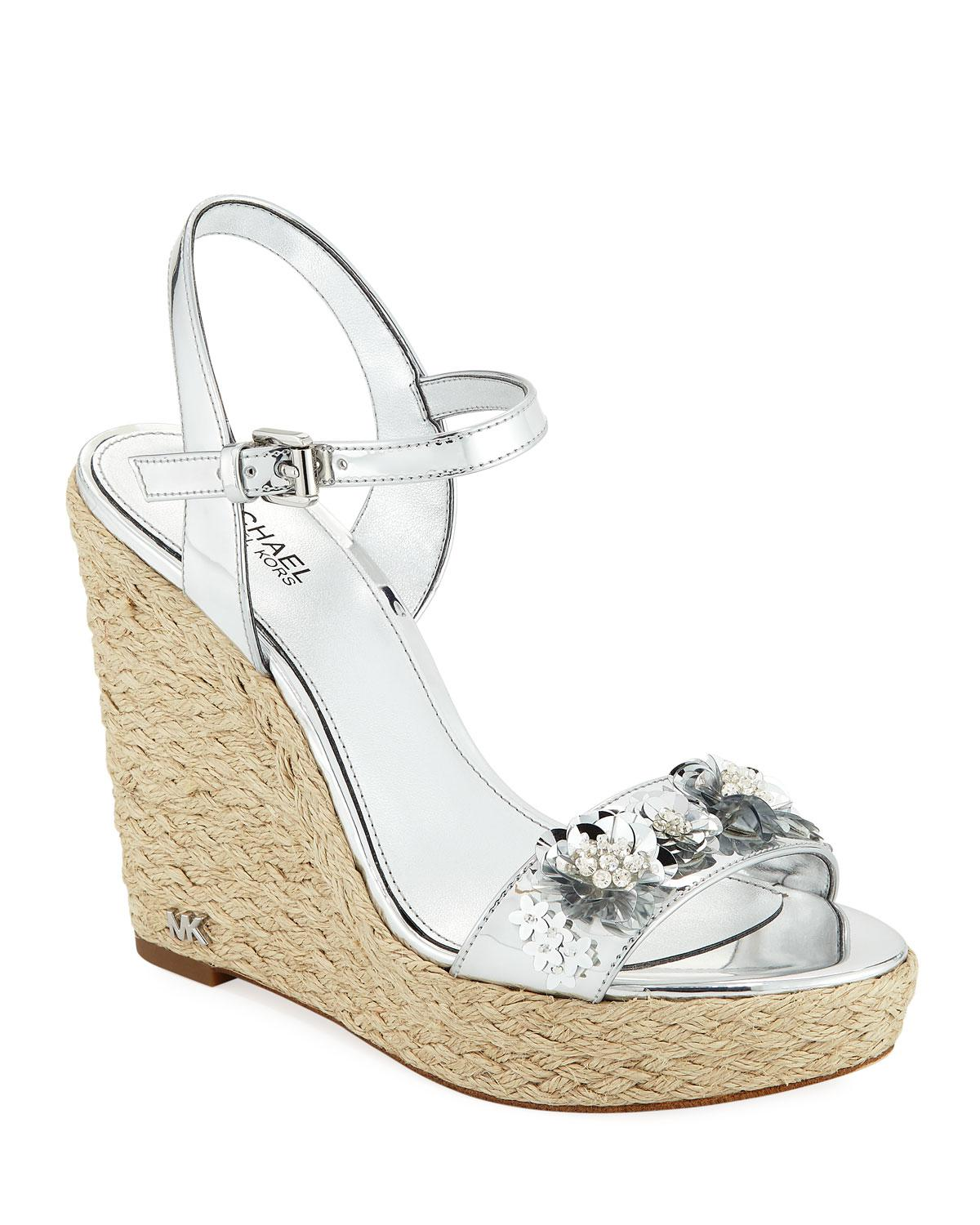 282db21f793 Lyst - MICHAEL Michael Kors Jill Metallic Leather Espadrille Wedge ...