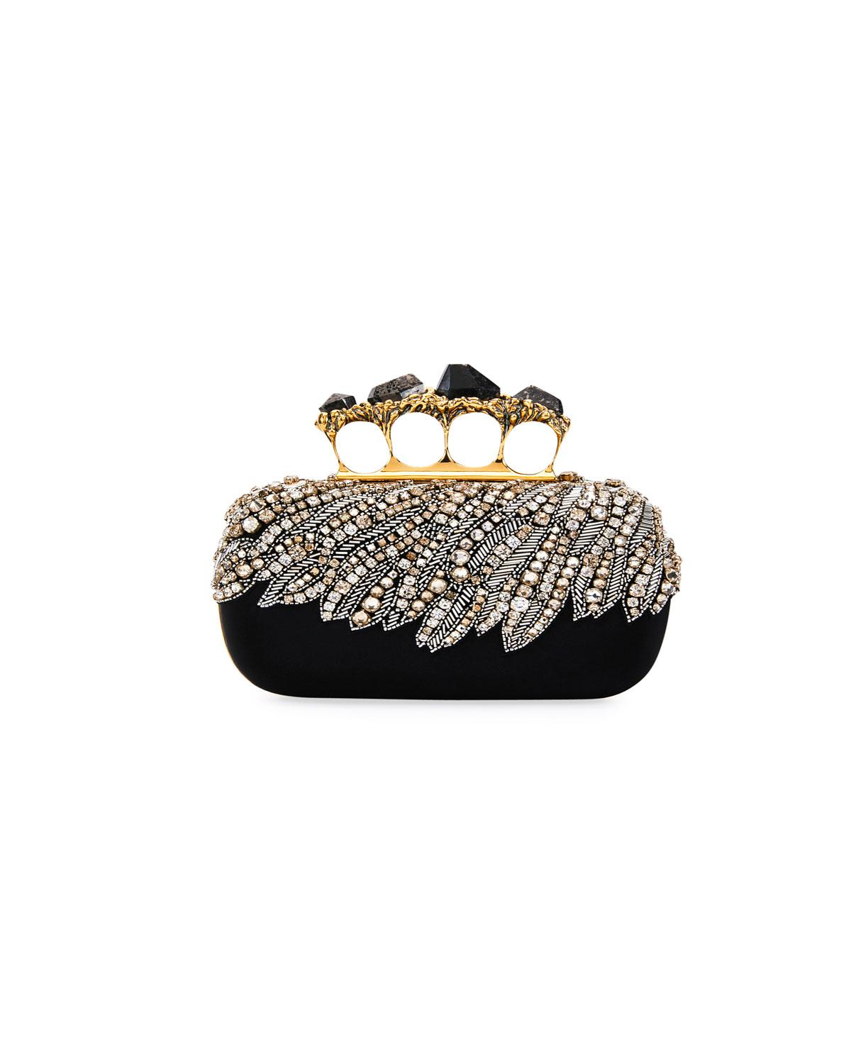 8dd046aba160 Lyst - Alexander McQueen Stone Eagle-embroidered Knuckle Clutch Bag ...