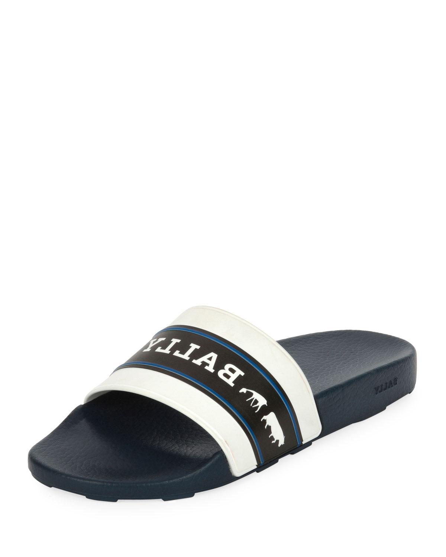 47e3d01a0 Lyst - Bally Men s Ani 6 Rubber Pool Slide Sandals in Blue for Men