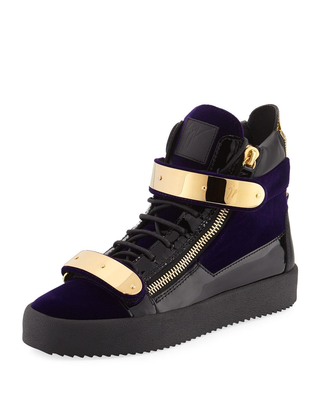 849cf935382ab Lyst - Giuseppe Zanotti Men s Velvet Double-bar High-top Sneaker in ...