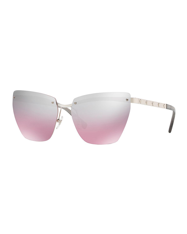 9f986cf6fbe Lyst - Versace Rimless Medusa-arm Metal Sunglasses in Pink