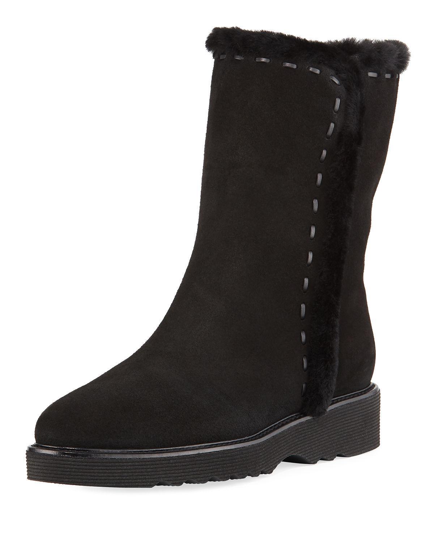 c65b8a288 Aquatalia - Black Kalena Fur-lined Suede Booties - Lyst. View fullscreen