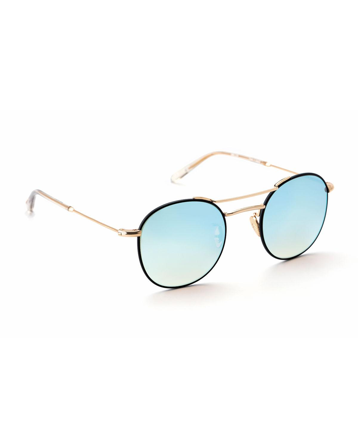 37414668bac3b Lyst - Krewe Orleans Round Mirrored Sunglasses in Blue