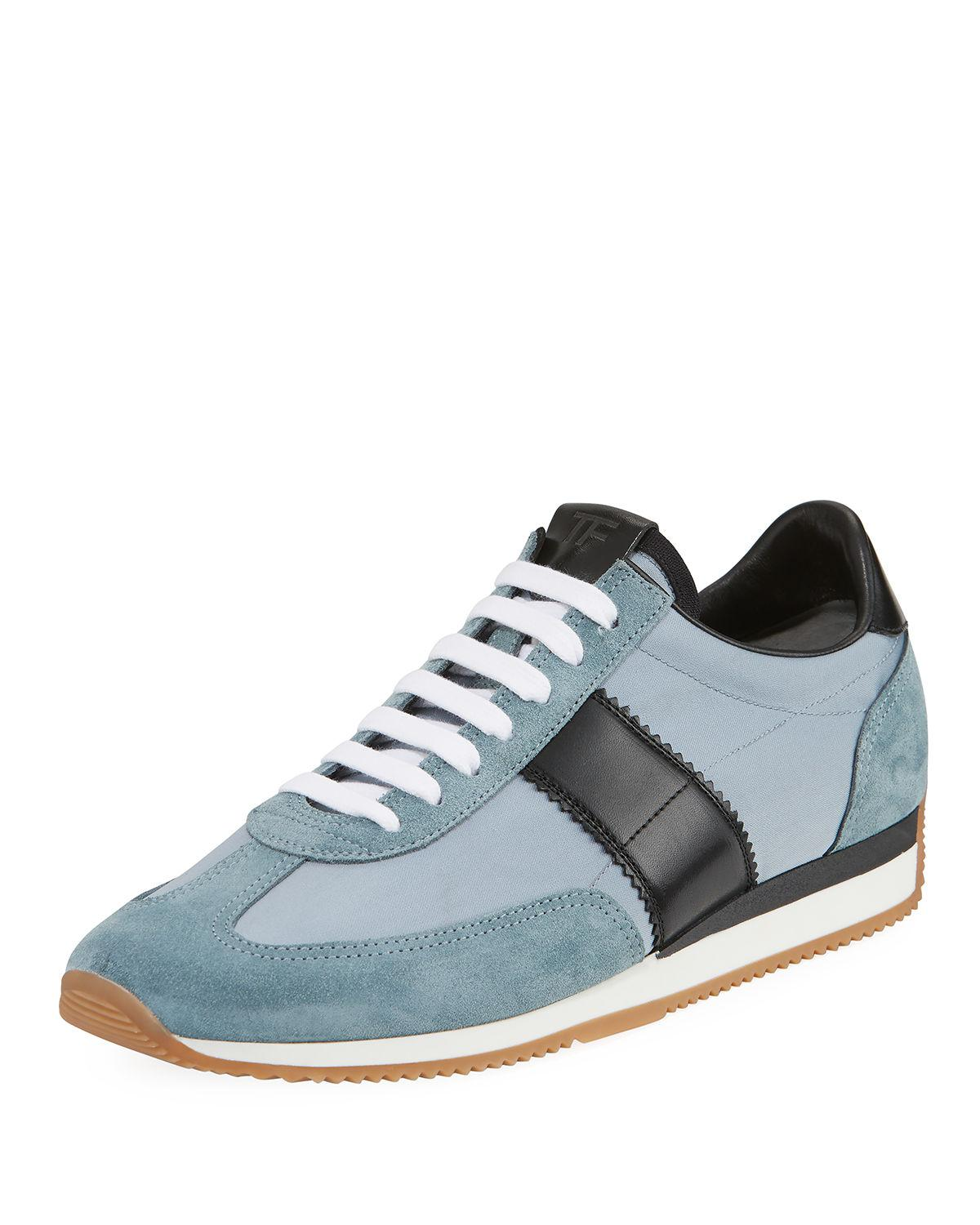 57190c296e9 tom-ford-BLUE-Mens-Suede-trim-Mesh-upper-Low-top-Sneakers.jpeg