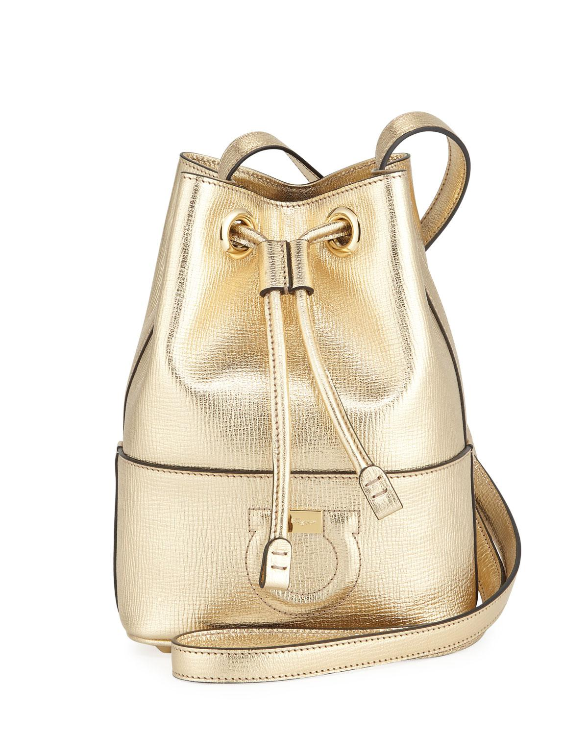 d1e070710f23 Ferragamo. Women s Gancio City Metallic Leather Bucket Bag.  875 From Neiman  Marcus