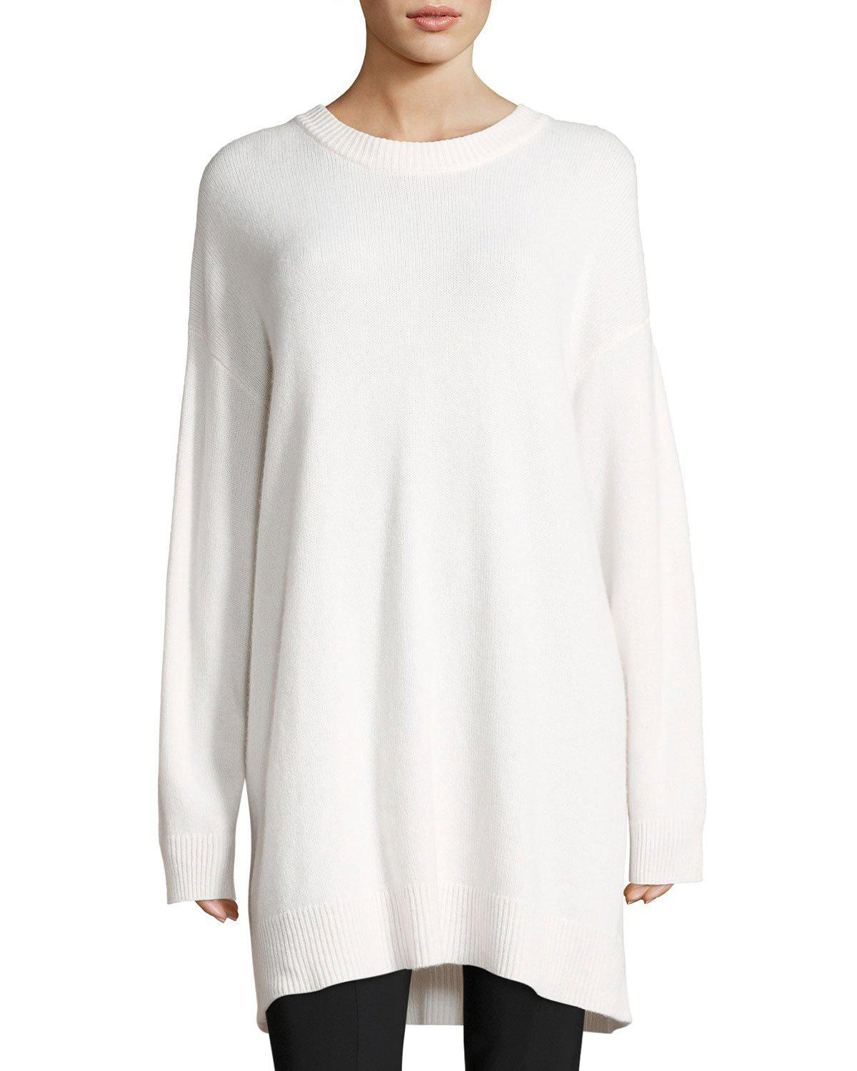 The row Emiko Cashmere Tunic Sweater in White | Lyst