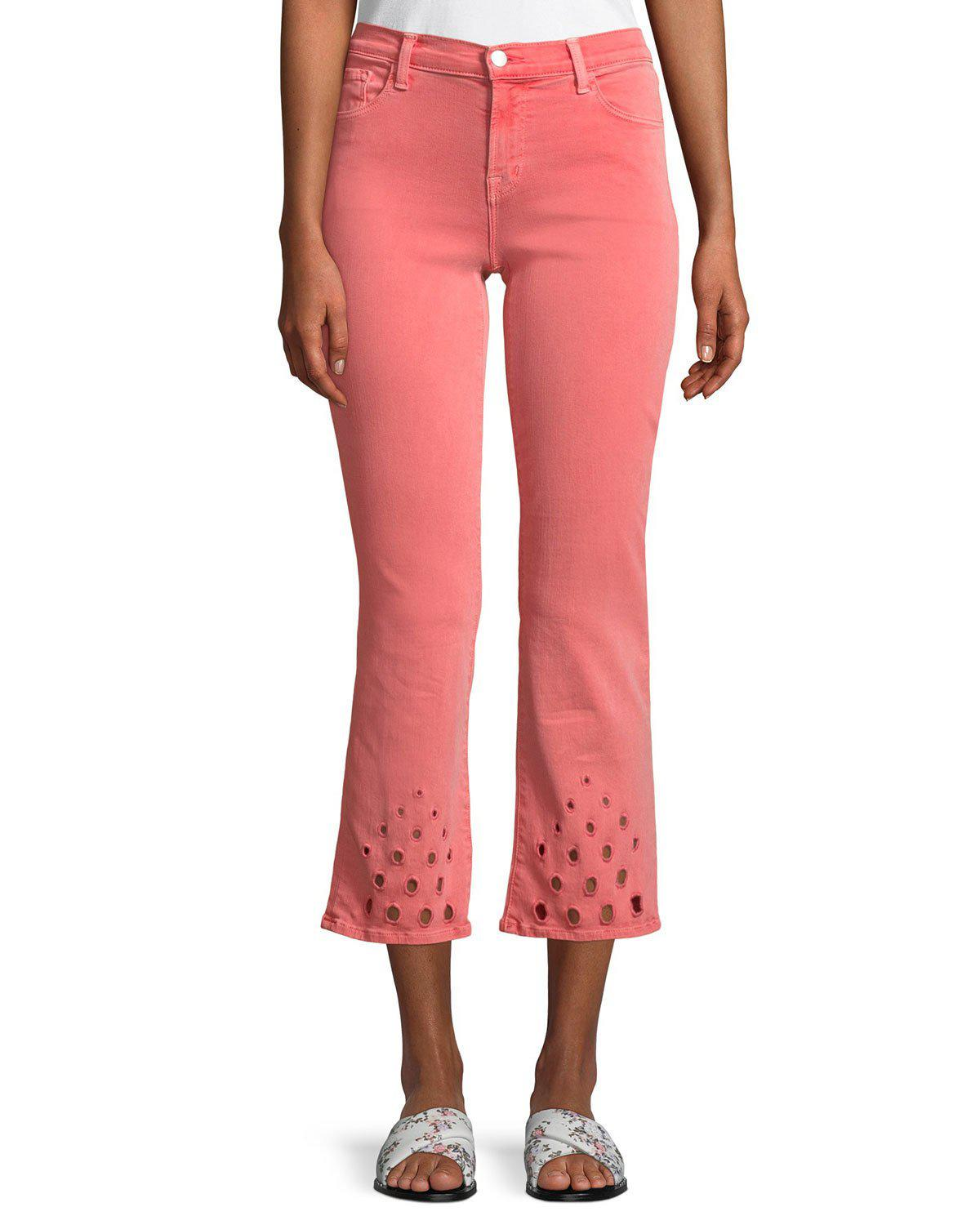 14676d83185 Lyst - J Brand Selena Mid-rise Crop Boot Jeans With Lace Hem in Pink