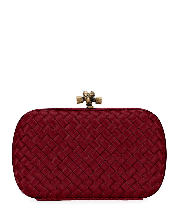 2023138830 Lyst - Bottega Veneta Woven Satin Chain Knot Clutch Bag in Red