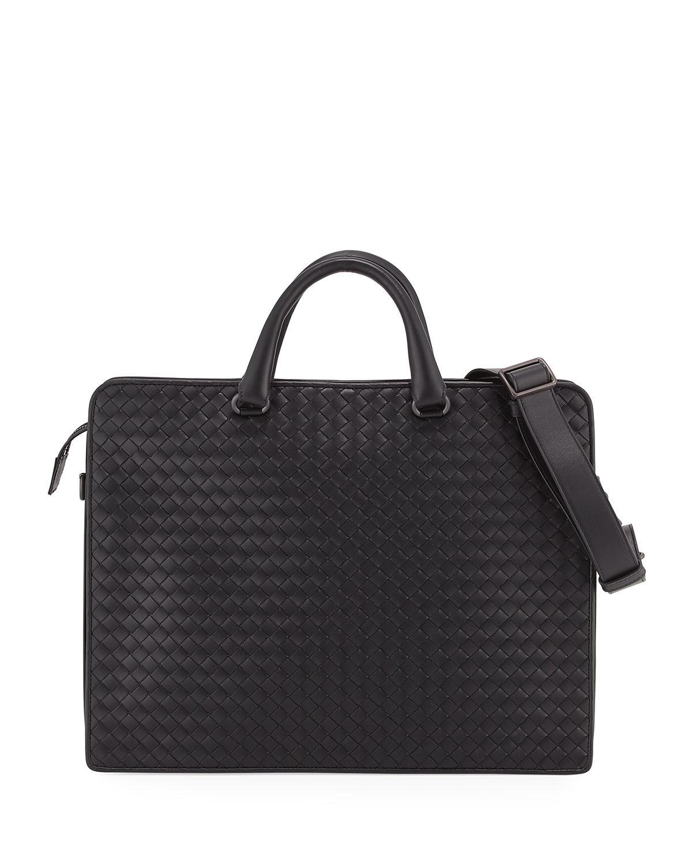 Lyst - Bottega Veneta Intrecciato Leather Briefcase in Black for Men ... 094cbeaa82ec8