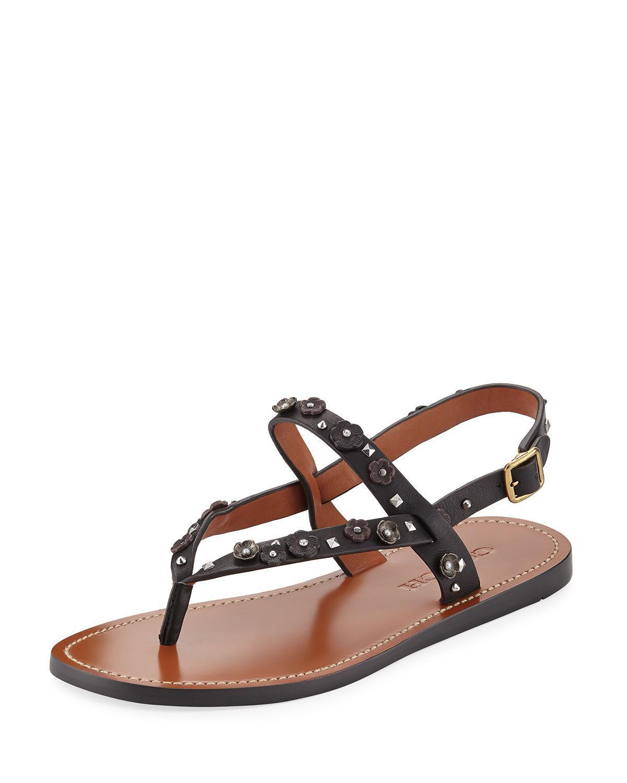 e3f7f5f50ce Lyst - COACH Hudson Tea Rose Flat Thong Sandal in Black