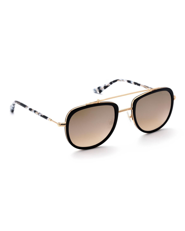 b986ea105d0 Krewe. Women s Metallic Breton Acetate   24k Titanium Aviator Sunglasses.   275 From Neiman Marcus