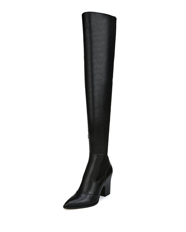 bc71a2edd3d Sam Edelman Natasha Stretch Leather Over-the-knee Boots in Black - Lyst