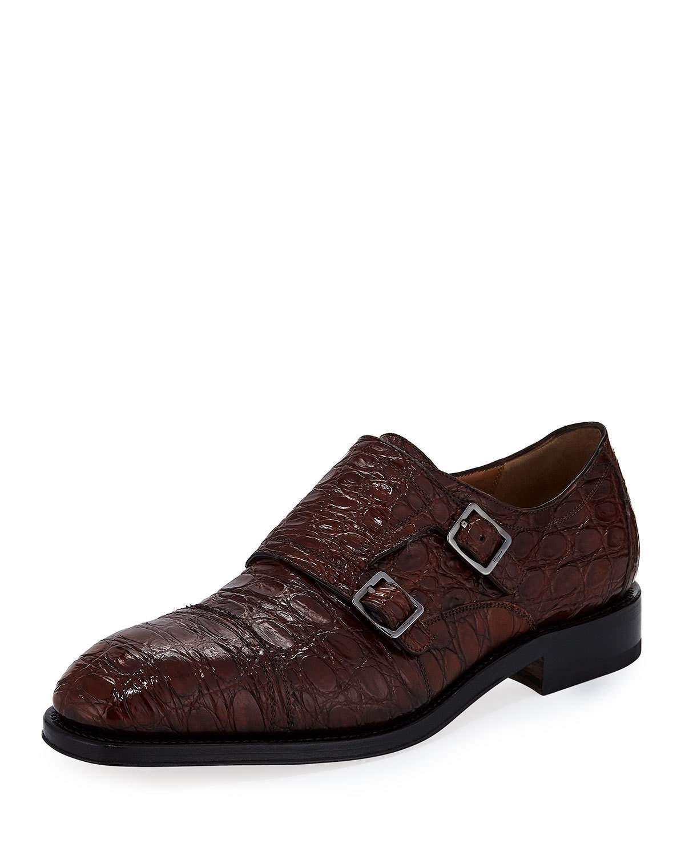 6ac2d41f8 Lyst - Ferragamo Men s Tramezza Crocodile Double-monk Shoe in Brown ...