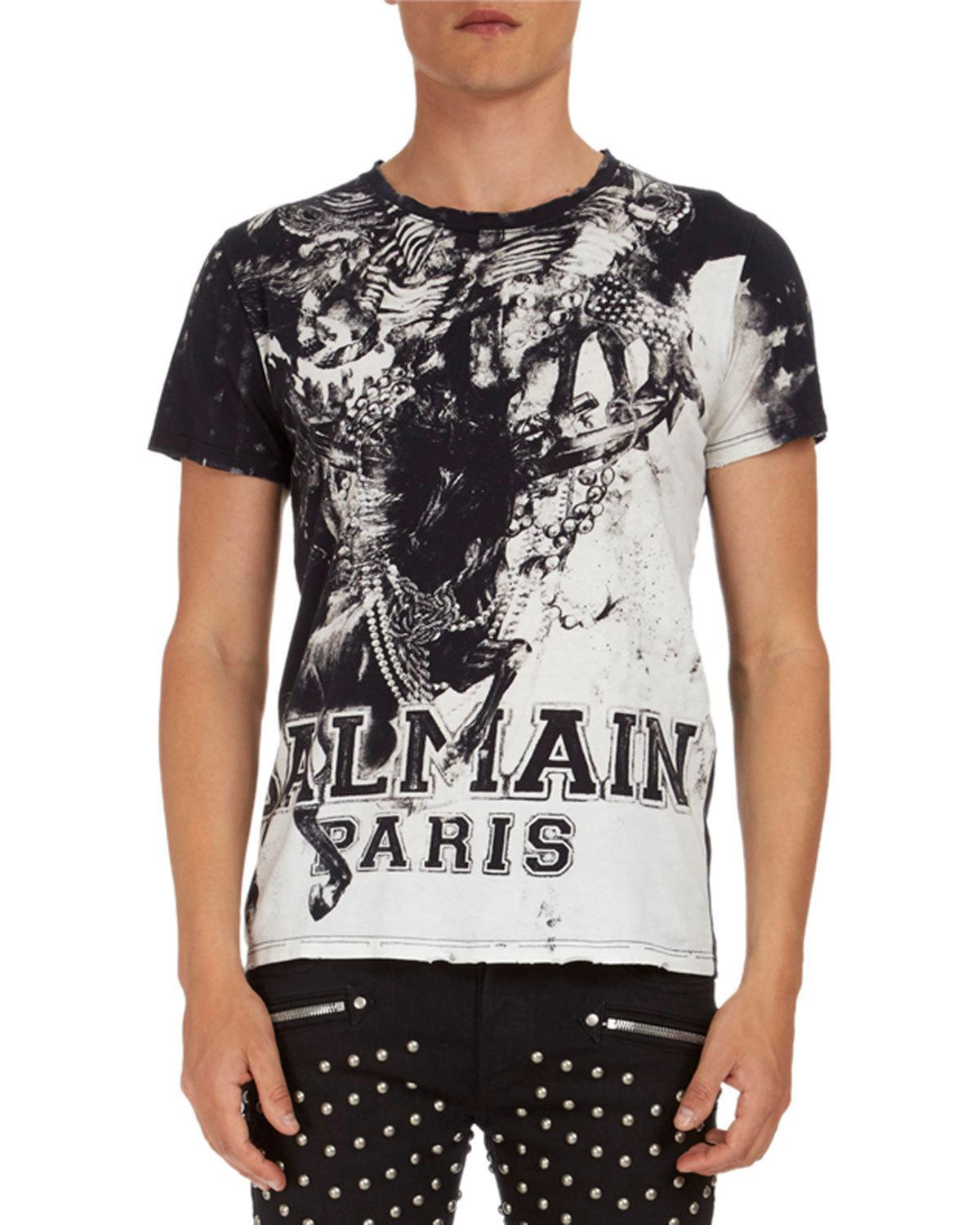 25a9c09f Lyst - Balmain Graphic-print Jersey T-shirt in Black for Men